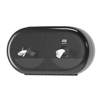 Tork T9 Wave Smart One Mini Twin Toiletrol Dispenser Zwart