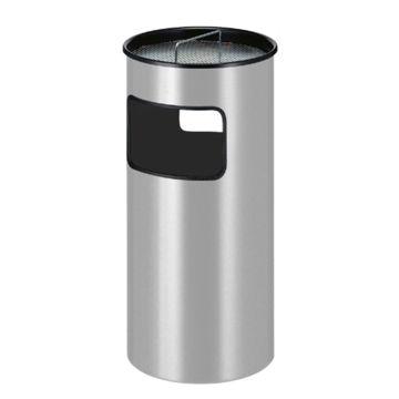 Afvalbak Aluminium Open 50 ltr Grijs met asbak