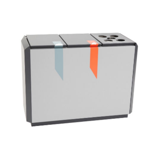 Afvalscheidingsunit Aluminium Deksel 3x50 ltr Grijs