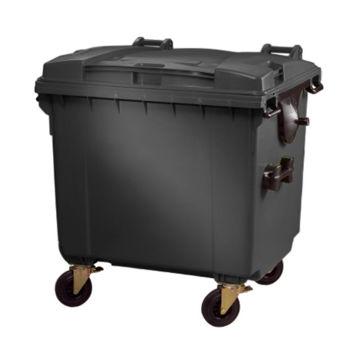 Afvalcontainer Kunststof Klep 1100 Ltr Grijs