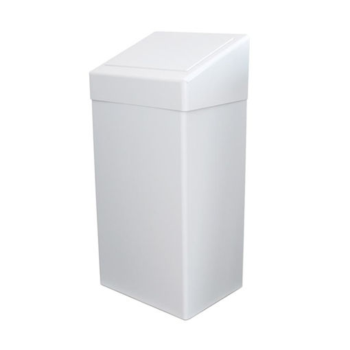 Afbeelding van Afvalbak Metaal Push 50 ltr Wit